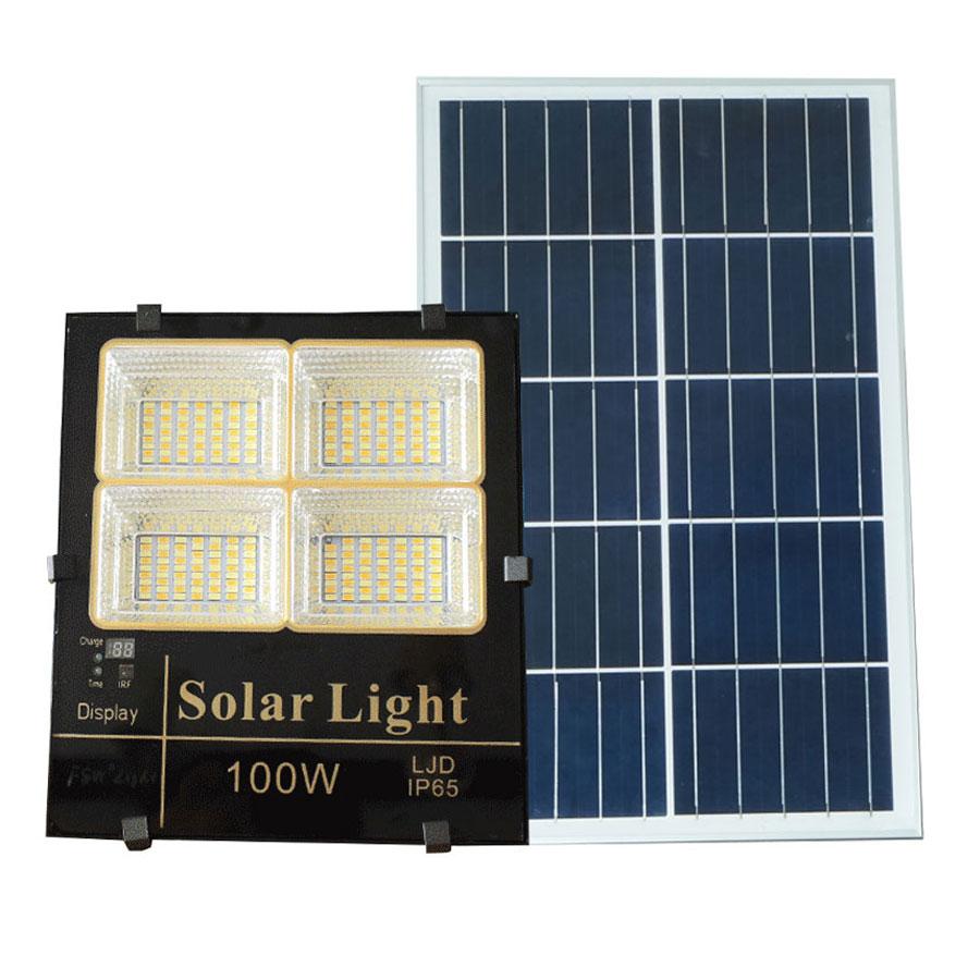 Đèn pha năng lượng mặt trời 100W 3 chế độ màu cao cấp P3M-100W ánh sáng vàng-trung tính-trắng