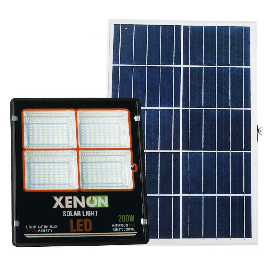 Đèn pha năng lượng mặt trời 200W cao cấp Xenon C-200W dây dài 5m chiếu sáng liên tục trên 14h