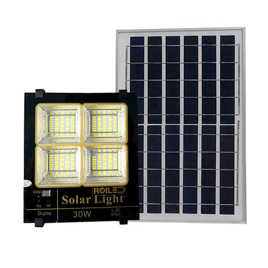 Đèn pha năng lượng mặt trời 30W 3 chế độ màu cao cấp P3M-30W ánh sáng vàng-trung tính-trắng